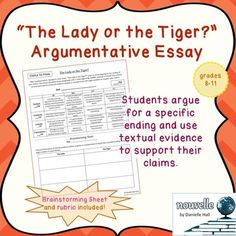 Lady or the Tiger? Essay w/ Rubric | Rubrics, Worksheets and Student