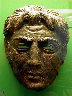 Calvary face helmet, Alexander type mask, Saalburg Roman Fort, Limes Germanicus, Germania (Germany) |