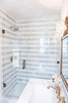 striped gray bathroom