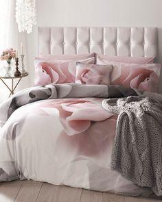Ted baker Porcelain Rose super king duvet cover, pink and grey bedding, bedroom inspiration, pink bedroom, pink and grey home decor, velvet bed, ted baker