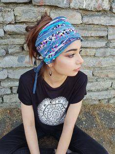 8e9cd4b0b3d Upcycled Denim Headband Turquoise Pink Headband Dreadlock Head wraps Tribal  Headpiece Unique Dreadlock accessories Gypsy Clothing Obi Belt