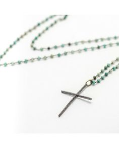 Women's Chrysoprase Gemstone Chain with CZ Cross Pendant Necklace   $135.00