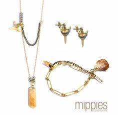 Natural earth tones, faded gold & silver parts and beautiful crystals. Get the new spring look! www.mippies.com