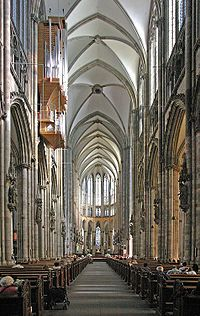 The Gothic east end of Cologne Cathedral represents the extreme of verticality. (nave, dating to the century). Architecture Images, Church Architecture, Amazing Architecture, Gothic Cathedral, Cathedral Church, French Arch, French Doors, Brick Arch, Place Of Worship