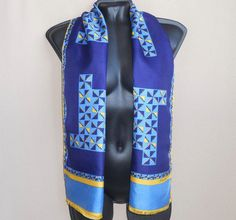 Blue silk neck scarf for men One sided Thin Silk scarf vintage Geometric print