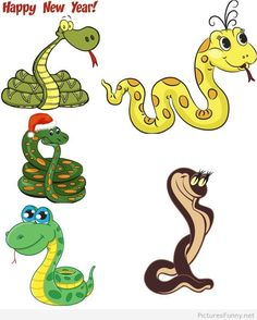 Funny snakes Happy New Year wallpaper