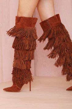 Cheap boots sexy, Buy Quality high boots directly from China long boots Suppliers: Chic Women Solid Brown Suede Flowing Fringe Stiletto Heels Knee High Boots Sexy Pointed Toe Side Zipper Tassel Long Boots Ankle Boots, Knee High Boots, Bootie Boots, Boot Heels, High Shoes, Women's Boots, Pretty Shoes, Beautiful Shoes, Catty Noir