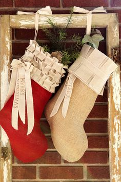 Red Burlap Christmas Stocking