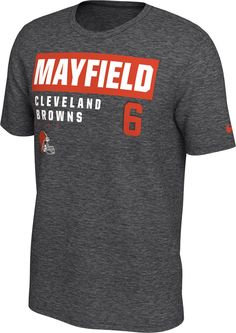627874939 Nike Men s Cleveland Browns Baker Mayfield  6 Marled Grey T-Shirt