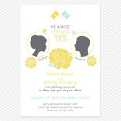 He Asked, She Said Yes Wedding Invitations