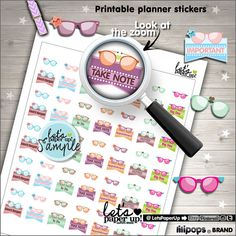 Glasses Stickers, Printable Planner Stickers, Flags Stamps, To Do Stickers, Eyeglasses, Erin Condren, Kawaii Stickers, Planner Accessories