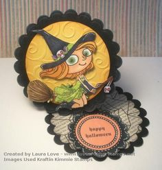 Circle Easel Card with a Twist - Kraftin Kimmie Stamps - Witchy Poo
