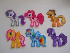 MLP Rarity, Pinkie Pie, Applejack, Fluttershy, Rainbow Dash, and Twilight Sparkle perler beads by Hannah Geubelle