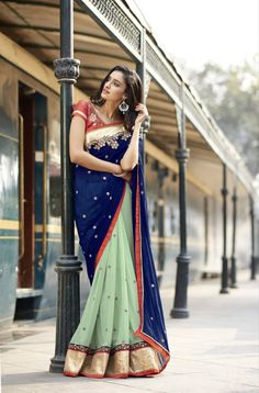 565d365384b Buy Blue and green embroidered georgette saree with blouse Online. Indian  AttireIndian WearIndian ...