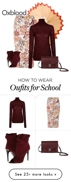 """""""oxblood"""" by shannonsmilez on Polyvore featuring Glamorous, Nicole Farhi, Burberry and The Cambridge Satchel Company"""