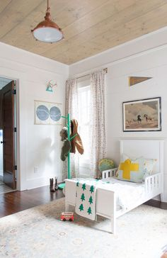 bright and rustic little boy room. I love the wood ceiling and floors plus white walls and trim Boys Bedroom Decor Rooms Decoration, Little Boys Rooms, Kids Rooms, Small Rooms, Kids Bedroom Sets, Bedroom Boys, Bedroom Decor, Bedroom Lighting, Bedroom Ideas
