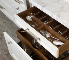 White & walnut cutlery drawer
