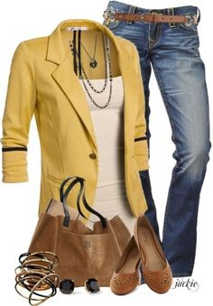 CHATA'S DAILY TIP: Our love for yellow continues with this modern, casual weekend look. Also perfect for a casual-smart Friday work-look! Add an element of interest by introducing accessories in ne… Mode Outfits, Fall Outfits, Casual Outfits, Fashion Outfits, Fashion Trends, 30 Outfits, Casual Blazer, Office Outfits, Mode Style