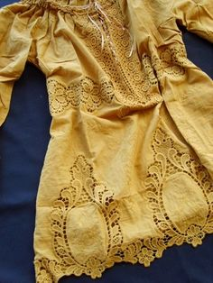Anthropologie Laced Rivers Eyelet Cut Lace Mustard Tunic Blouse Top 5-C91 S