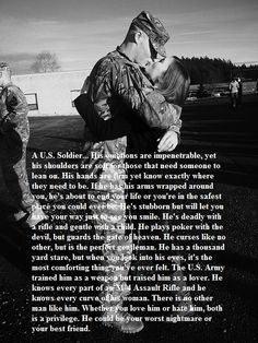 "My Marine yes, it says ""U. Army Soldier"" in the reading, but everything is true about my Marine. Army Quotes, Military Quotes, Army Sayings, Soldier Quotes, Military Couples, Military Love, Military Deployment, Deployment Quotes, Military Dating"