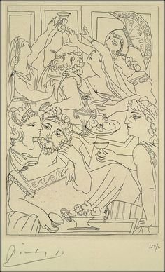 Pablo Picasso's Spare, Tender Illustrations For a Limited Edition of Aristophanes' Lysistrata Pablo Picasso Drawings, Picasso Prints, Kunst Picasso, Picasso Sketches, Picasso Art, Art Drawings, Drawing Faces, Georges Braque, Pablo Picasso Zeichnungen