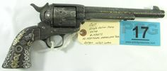 Lot 17 in the 12.9.13 firearm auction! Antique Colt SAA in 45 Long Colt with Factory Letter and Sterling Silver Grips! This is a fully engraved. Features famous Cattle Brands. This Colt Single Action Army revolver was manufactured in 1891 & comes with the original Colt Factory Letter stating that Cowboy Single Action Army Revolver was sent to Hibbard, Spencer, Bartlett & Company on October 6th 1891 in 44/40 Caliber. The revolver appears to have been engraved by Cole Agee. #Gun #POGAuctions