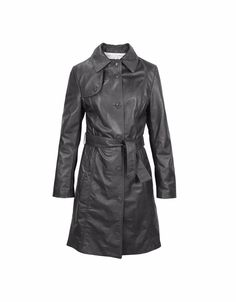 Womens Leather Belted Trench Coat Jacket Genuine Lambskin Biker Motorcycle New #Handmade #Motorcycle