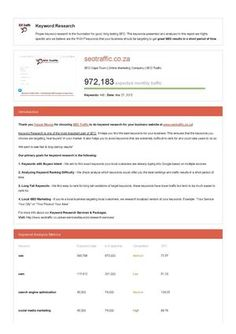 This is a SAMPLE keyword research report that is one of the reports you get with our Keyword Research Service Packages found at http://www.seotraffic.co.za/seo-services/keyword-research-services/. Our keyword research reports helps your business choose the easiest to rank for keywords to maximize your traffic potential in the shortest period of time. Check it out here!