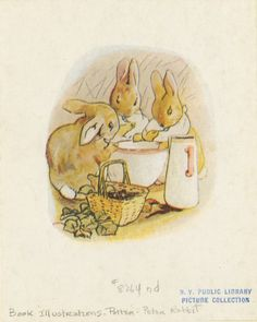 Flopsy, Mopsy, and Cotton-tail had bread and milk and blackberries for supper. From New York Public Library Digital Collections. Beatrix Potter, Golden Book Baby Shower, Peter Rabbit And Friends, Children's Book Illustration, Book Illustrations, Little Golden Books, Cute Characters, Fictional Characters, New York Public Library
