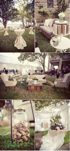how brilliant and adorable is the vintage furniture set-up outside... gonna need Mel & Gerald's help on this one :]