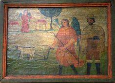 """Retablo """"San Isidro Labrador""""  Colonial venezolano. Edo. Mérida. Siglo XVIII. Óleo/tabla. Medidas: 34 x 25 cms."""