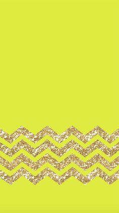 Freebie: iPhone 6 Wallpaper Chartreuse + Gold Glitter Chevron!