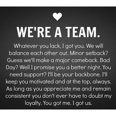 Are we a Team? Yes We Are - Relationship Funny - Visit the post for more. The post Are we a Team? Yes We Are appeared first on Gag Dad. Now Quotes, Life Quotes Love, Quotes To Live By, Lovers Quotes, Got Your Back Quotes, In Love With You Quotes, Thankful For You Quotes, I Will Always Love You Quotes, Encouragement Quotes For Men