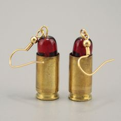 Bullet Casing Killer Lipstick Earrings Gold over by HippieHeadcase