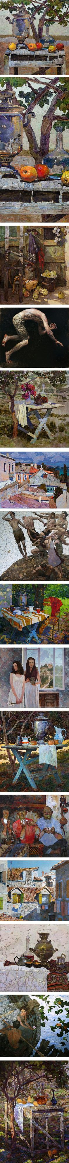 Denis Sarazhin, still life, figures, townscape paintings