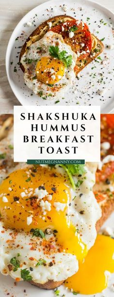 Shakshuka hummus toast is a flavorful and healthy way to start the day. Roasted tomato slices are layered on top of toast spread with hummus, topped with fried egg,cilantro and feta cheese.