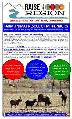 Promotional Flyer for the Farm Animal Rescue of Mifflinburg which will be participating in Raise the Region a 30-hour on-line fundraiser. Visit www.raisetheregion.org or www.F-A-R-M.US.