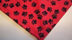 Dog Bandana/Scarf Unisex Red Black Paw Prints Custom made by Linda XS S M L #CustommadebyLinda