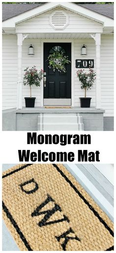 DIY Monogrammed Welcome Mat, easy to make & looks great! @thistlewoodfarms.com
