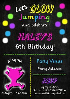 Jump Invitation Girls Trampoline Birthday Party Glow by jcsaccents