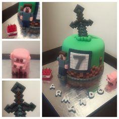 Miniature minecraft cake. Vanilla pound cake with chocolate swiss meringue...