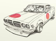 "car illustration original cartoon ""mame mame rock""... - ozizo in tokyo"