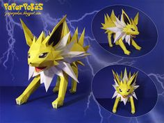 Paperpokés - Pokémon Papercrafts: JOLTEON Maybe my least favorite Eeveelution :c I like the ones that have huge tails. (I'm a sucker for huge fluffy tails)  Pokemon, Papercraft Jolteon for kids, Papercraft Jolteon, Papercraft, awesome, cute, cool, nintendo, Jolteon