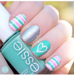 Spring mani. Turquoise nails. Heart. Pink. Stripes. Essie. Nail art. Nail design. Polish. | Check out http://www.nailsinspiration.com for more inspiration!