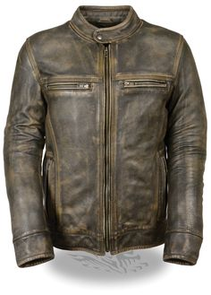 Milwaukee Leather Men's Distressed Brown Vented Scooter Jacket