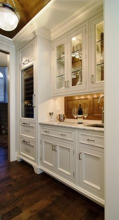 Kitchen Beverage Center - Shine Your Light Butlers Pantry & Bar Design. Kitchen Butlers Pantry, Butler Pantry, New Kitchen, Kitchen Decor, Kitchen Cabinets, White Cabinets, Kitchen Layout, Glass Cabinets, Upper Cabinets