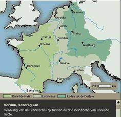 Verdeling Frankische rijk onder kleinzoons Karel de Grote. Karel de Grote is een voorouder van mij.