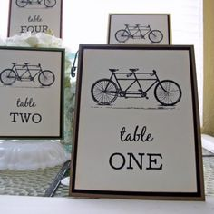 Bicycle Table Numbers - http://www.toptableplanner.com/blog/on-a-bicycle-made-for-two-a-wedding-seating-plan-on-two-wheels