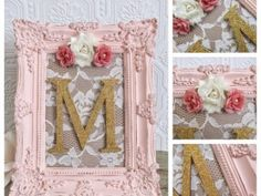 Nursery Letter M Baby Girl Nursery Letters Pink and Gold Wall Letters Shabby Chic Nursery Decor by SeaLoveAndSalt