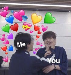 kpop memes love and affection Funny Kpop Memes, Kid Memes, Stupid Memes, Love You Meme, Cute Love Memes, Bts Meme Faces, Funny Faces, Heart Meme, Emoji Love